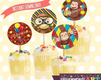 Curious George Cupcake Toppers, Curious George Party, Curious George Birthday, Monkey Cupcake Tops, Monkey Party, Stickers Labels Favor Tags