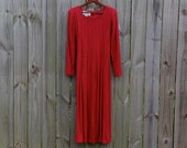 S Small Vintage 80s 90s Dark Red Long Sleeve 100% Rayon Made in India Hipster Alternative Indie Festival Grunge Midi Maxi Babydoll Dress