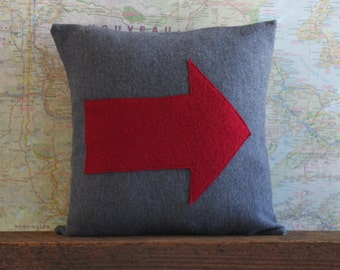grey wool pillow cover // upcycled wool pillow //  red arrow pillow // sweater pillow // red wool pillow // 14X14 cushion // 14 inch pillow