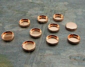 pkg of (10) - 8mm Round Copper Bezel Cups