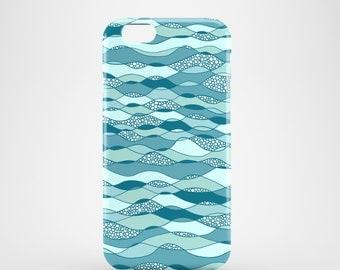 Waves phone case, Blue phone case, iPhone 7, iPhone 7 Plus, iPhone SE, iPhone 6S, iPhone 6, iPhone 5S, iPhone 5, illustrated blue phone case