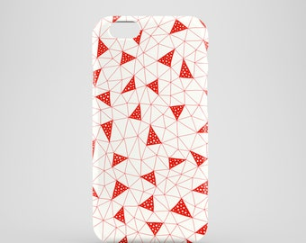 Red Triangles phone case / Red iPhone 7 case, abstract iPhone 7 Plus, iPhone SE, iPhone 6S, iPhone 6, iPhone 5/5s, illustrated phone case