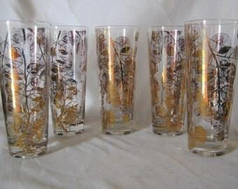 Gold Tone Tall Drink Glasses Gay Fad Oak Leaf and Acorns