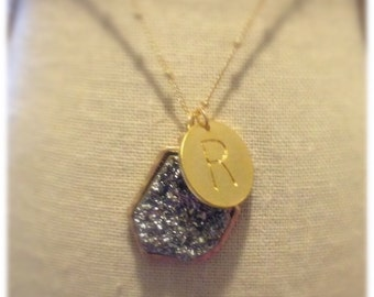 Custom Druzy Initial Stone Drop Long Necklace for Mother or Grandmother