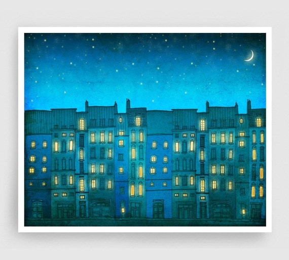 You are not alone - Paris illustration Paris Art Print Posters Home decor Wall decor Modern Architectural illustration Turquoise Blue houses