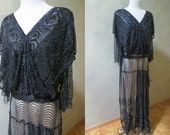 Gloriously Beaded & Sequined Art Deco Gown with Abstract Deco Designed Lace Skirt