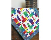 Abstract Quilted Wall Hanging, Fiber Art Wall Hanging