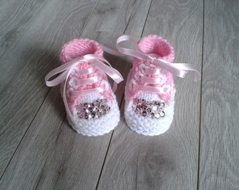 Hand knitted baby girl  booties,Baby Photo prop