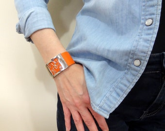 Genuine Leather Cuff Bracelet With Chrome, Orange Leather Bracelet, Butterfly Chrome Bracelet,  Adjustable Bracelet, Mother's Day Gifts
