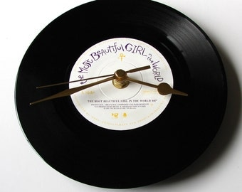 PRINCE, Vinyl Record CLOCK, The Most Beautiful Girl In The World, made from a recycled 7 inch record, Upcycled, 1980s, black and white