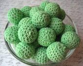 Chunky Crochet Beads, 6 Celery Green Beads, Knit Beads, 21mm Chunky Beads, Bubblegum Bead, Gumball Bead