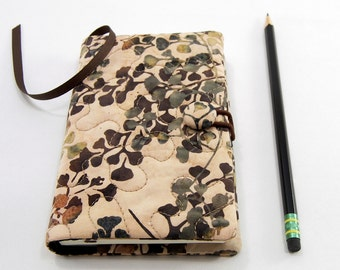 Pocket Journal Cover, Small Moleskine Cover, Pocket Notebook 3.5 x 5.5 inch, Journal Slipcover - Leaf Batik in Peach, Green, Brown and Tan