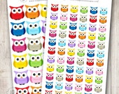 Rainbow Owls, Set of 24 or 66 - Perfect for Erin Condren, Limelife, Mambi and Plum Paper Planners