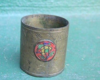 vintage on sale Chinese Cloisonne Brass Cup