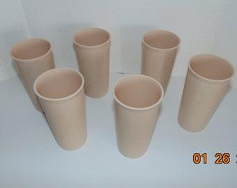 Lot 6 Cream almond vintage Tupperware tumblers cups numbers  116 10 oz