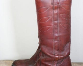 vintage tall frye boots brown leather black label womens size 7B