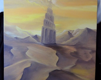 Original Oil Painting by Set Balise: Mirage Tower (Final Fantasy I)