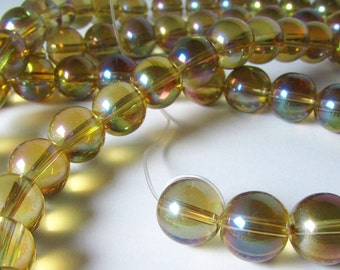 Golden Yellow with Green and Magenta Mystic Coated Titanium Quartz Glass Round Ball Beads 9mm - 10mm