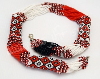 Ukrainian folk-gerdan necklace with beads. Red-black-and-white colors. Handmade 100%.