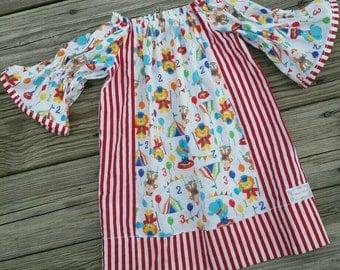 Circus Dress, Circus Peasant Dress, Fair Dress, Toddler Peasant Dress, Red Stripe, Girls Dress, Dress