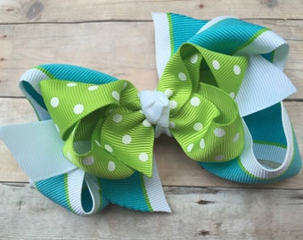 Turquoise, apple green & white double boutique bow - summer boutique bow, turquoise boutique bow, 4 inch bows, girls hair bows, toddler bows