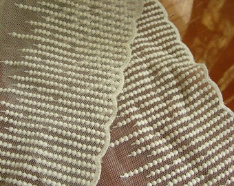 ivory lace trim , cotton embroidered gauze mesh lace with lace beads
