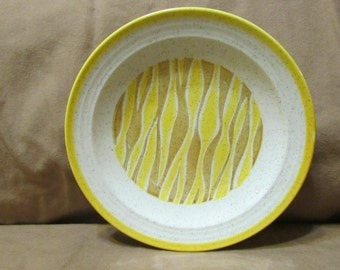 brown and yellow china granite ware salad luncheon plates tiger stripe ripple