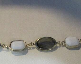 jeweled bracelet white and smokey olive green ,7 7/8