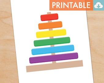 Toy Shapes Waldorf Montessori Printable - DIY Print 8x10 and 11x14 sizes