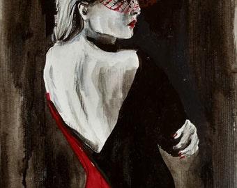 Black and white art. Acrylic painting by Ukrainian artist Nataly Basarab. Original Art, signed. Stylish. Black White And Red wall art