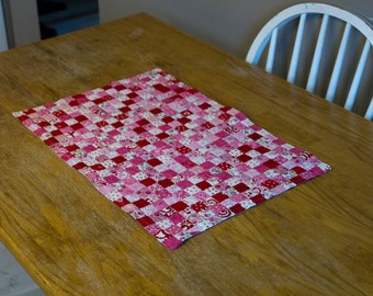 No. 42 Postage Stamp Quilt, Small Valentine Table Runner, 384 Pieces