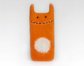 Felt iPhone 6 case, orange case, Monster felt case, funny gift, eco-friendly covers, handmade case
