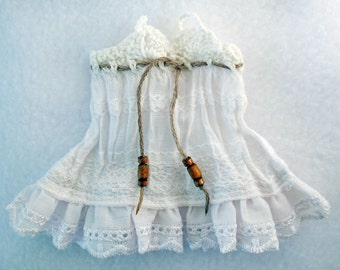 Сrushed cotton pinafore sarafan dress for Lati yellow / Pukifee white lace