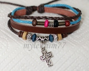 130 Women's brown leather bracelet Cross bracelet Charm bracelet Beads bracelet Christian bracelet Religious jewelry For women and girls