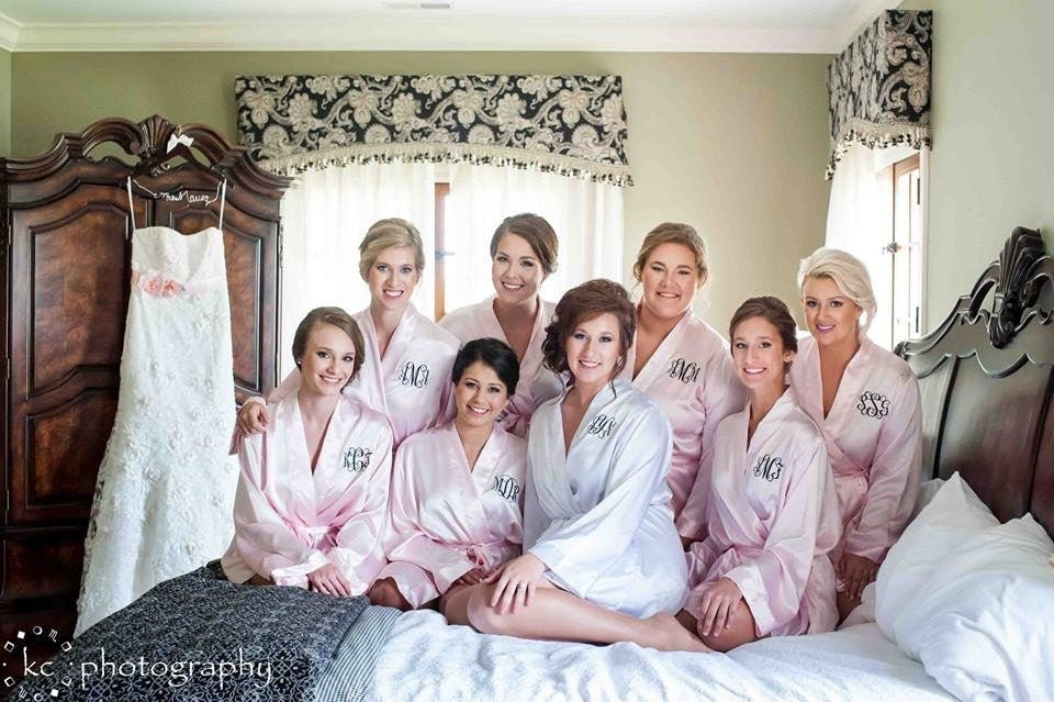 PERSONALIZED ROBES Bridal Party Robe Blush Satin Robes