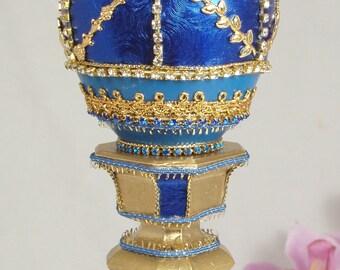 Decorated Goose Egg - Faberge Style  Jewelry/Keepsake Box - The Blue Goose Egg - Handmade Decorated Egg