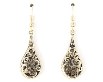 Exquisite Gold-tone Double Sides Hollow Tear Drop Dangle EARRINGS,B16