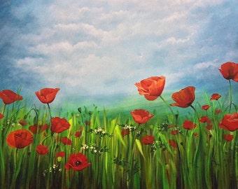 "Fields of Joy 1 - 30""x48""x1.5"" Acrylic on Canvas"
