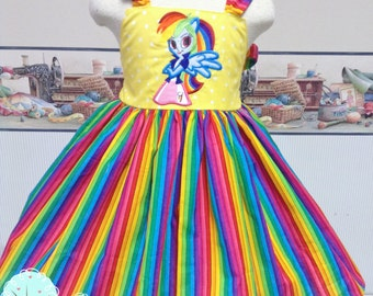 Rainbow My Little Pony - Equestria Inspired Twirl - Custom Dress - Bright Colors - Children sizes - Birthday Party - Photo Shoot