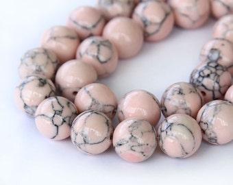 Magnesite Beads, Blush Pink, 10mm Round - 15 inch Strand - eGR-MG014-10
