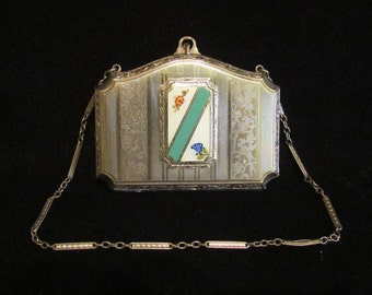 Early 1900s Dance Purse Dance Compact Victorian Edwardian Crossover Powder Rouge Mirror and Lipstick Guilloche Compact Excellent Condition