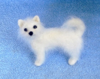 Wool Sculpture Fluffy Small Dog - Needle Felt - OOAK