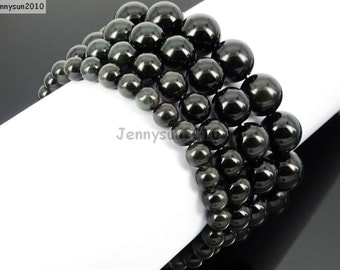 Natural Handmade Black Obsidian Gemstone Size 6mm 8mm 10mm 12mm Round Beads Stretchy Bracelet Healing Jewelry Design and Crafts