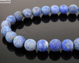 Natural Matte Lapis Lazuli Frosted Gemstones 4mm 6mm 8mm 10mm 12mm Round Loose Spacer Beads 15'' Strand Jewelry Design