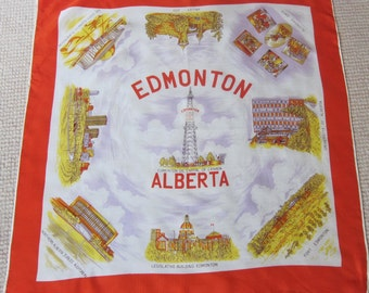 EDMONTON scarf OIL capital of CANADA 1960s souvenir