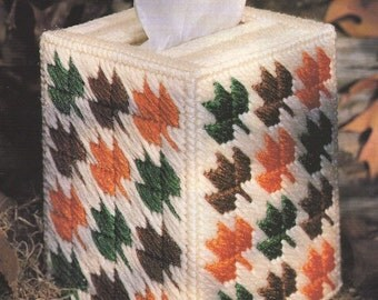 2 Plastic Canvas Patterns - Fall Tissue Box Cover and Santa Wind Sock
