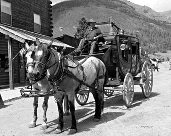 Stage Coach / Old West Photo / Black and White / Free US Shipping