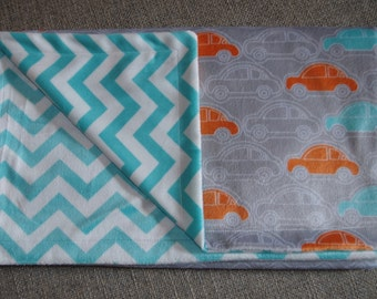 Reversible Baby Blanket  - Cars in Orange and Teal on Gray with Teal and White Chevron Backing