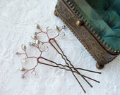Grey Bridal Hair Pins with Pearl Branch. Pair of Wedding Hair Accessories in Antique Copper. Wedding Hair Piece