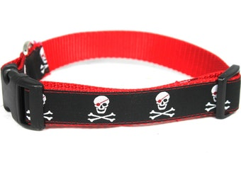 "Adjustable 1"" Wide Dog Collar, Skull"